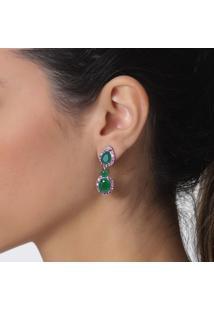 Brinco Rosa Pinhal Gota Com Zircônias Cor Marsala E Cristais Verde Esmeralda