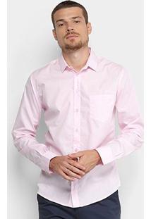 Camisa Slim Manga Longa Colcci Básica Masculina - Masculino-Rosa