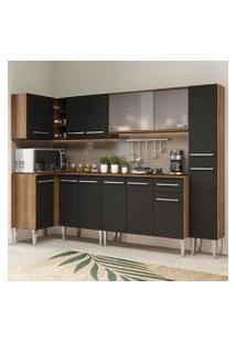 Cozinha Completa De Canto Madesa Emilly Space Com Armário Vidro Miniboreal, Balcão E Paneleiro Rustic/Preto Cor:Rustic/Preto