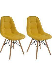 Conjunto 2 Cadeiras Eiffel Botonê Eames Dsw Amarela