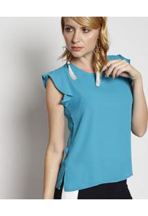 Blusa Lisa Com Botão - Azulmoiselle