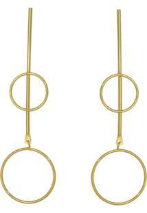 Brinco Prata Mil Palito Com 2 Redondo Fio Vazado Dourado - Kanui