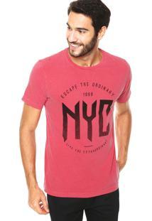 Camiseta Fiveblu Estonada Nyc Metal Vinho
