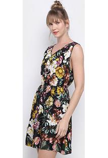 Vestido Pérola Evasê Curto Floral - Feminino-Preto+Rosa