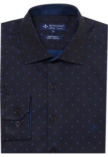 Camisa Dudalina Manga Longa Fio Tinto Maquinetada Masculina (Azul Escuro, 1)