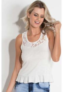 ce7b15aab0 ... Blusa Quintess Off White Com Renda E Babado