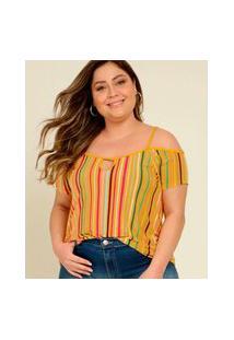 Blusa Plus Size Feminina Open Shoulder Listrada
