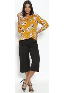 Blusa Com Pregas & Botão- Amarelo Escuro & Bege- Vipvip Reserva
