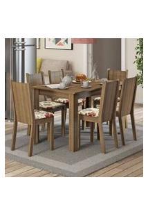 Conjunto Sala De Jantar Madesa Maris Mesa Tampo De Madeira Com 6 Cadeiras Rustic/Lírio Bege