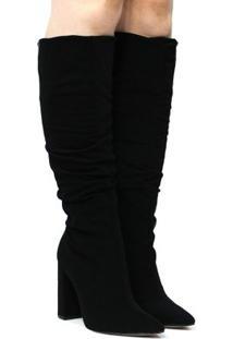 Bota Montaria Zariff Shoes Nobuck Salto Alto Feminina - Feminino-Preto