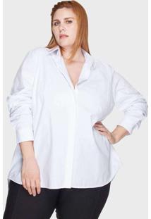 Camisa Evasê Algodão Plus Size Branco