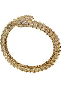 Bracelete Snake Escamas Cravejadas Cristais Ajustável Banhado A Ouro 18K - Kanui