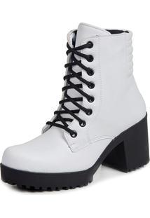 Ankle Boot Tratorado Cadarço Dhl Calçados Feminino Branco