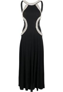 John Richmond Crystal-Embellished Flared Gown - Preto
