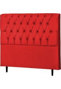 Cabeceira Casal Queen Veneza 160Cm Para Cama Box Suede Vermelho - Ds Móveis - Kanui