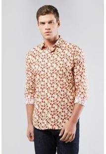 Camisa Reserva Enxuto Estampa Ros Masculina - Masculino-Off White