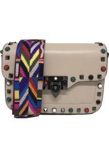 Bolsa Casual Transversal Alça Colorida Sys Fashion 830302 Bege