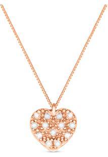 Pingente Coraã§Ã£O Ouro Rosã© E Diamantes