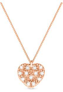 Pingente Coração Ouro Rosé E Diamantes