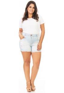 Shorts Jeans Tradicional Com Lycra Plus Size Confidencial Extra Feminino - Feminino-Azul