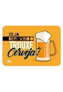 Tapete Decorativo Bem Vindo Trouxe Cerveja Chopp Amarelo 40X60Cm