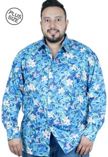 Camisa Plus Size Bigshirts Manga Longa Tropical - Azul