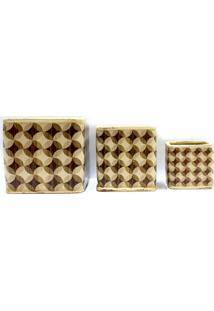 Conjunto De Cachepot Em Cerâmica Com 3 Peças Bege E Marrom