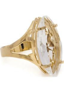 Anel Banho De Ouro Navete Cristal - Feminino-Dourado