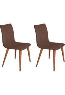 Conjunto Com 2 Cadeiras Luanda Veludo Chocolate