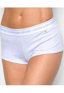 Calcinha Calvin Klein Boyshort Feminina - Feminino-Cinza Claro