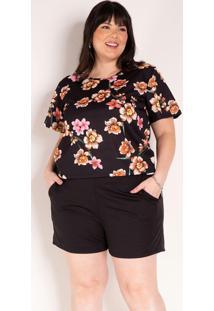Conjunto Floral E Preto Blusa E Short Plus Size