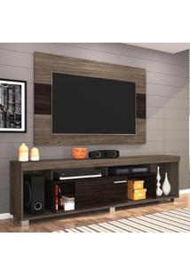 Rack Com Painel Para Tv 55 Polegadas Tomaz Amêndoa E Ébano 130 Cm