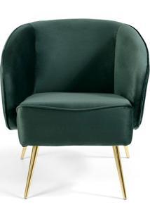 Poltrona Agnes- Verde & Dourada- 77X69X71Cm- Comcombinare