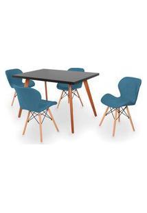Conjunto Mesa De Jantar Gih 120X80Cm Preta Com 4 Cadeiras Slim - Turquesa