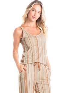 Pijama Capri Estampado Fernanda - Bege/P