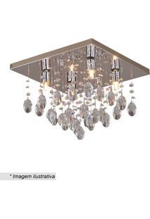 Plafon Quadrado- Cristal & Inox- 26X35X35Cm- Bivhevvy