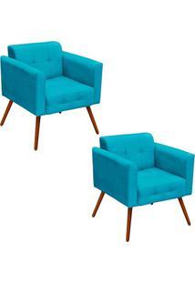 Kit 2 Poltronas Decorativas Pés Palito Ana Suede Azul Tiffany - Ibiza