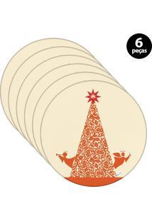 Capa Para Sousplat Mdecore Natal Arvore De Natal Bege 6Pçs
