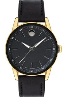 Relógio Movado Masculino Couro Preto - 0607223