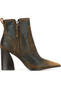 Premiata Ankle Boot Com Detalhes Puídos - Marrom