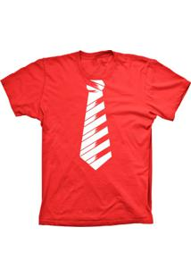 Camiseta Baby Look Lu Geek Gravata Social Vermelho