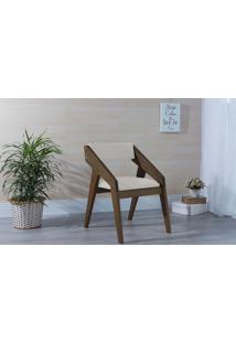 Poltrona Sala De Madeira Decorativa Off White Quadratto - Verniz Capuccino \ Tec.924-023 - 55X49X78 Cm