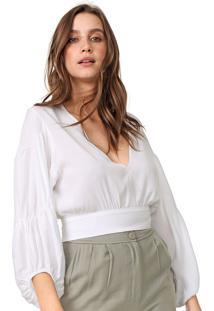Blusa Cropped Colcci Drapeado Branca