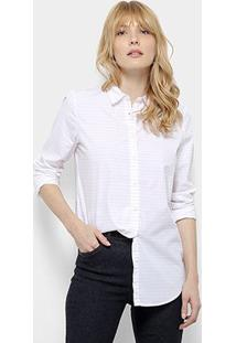 Camisa Lacoste Ml Feminina - Feminino-Branco