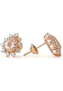 Brinco Joiasgold De Ouro Rosê 18K Gota Morganita Com Diamantes Br22018 - Feminino-Rosê