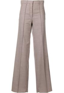 Victoria Beckham Calça Pantalona Xadrez - Branco