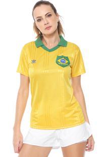 Camisa Polo Adidas Originals Brasil Fan W Amarela/Verde