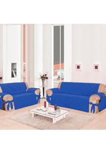 Kit 2 Capas Para Sofá: 2 E 3 Lugares Com 21 Elásticos Casa Dona Azul