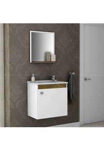 Gabinete Com Espelho Siena Madeira Rústica/Branco - Móveis Bechara