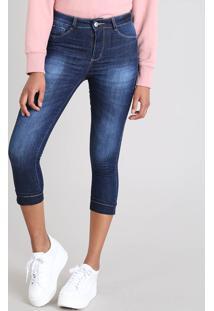 Calça Jeans Feminina Sawary Cigarrete Com Lurex Azul Escuro